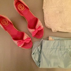 Lilly Pulitzer Shoes - Lilly Pulitzer Pink & White Wedges