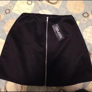 Boohoo Louella scuba zip front A-line mini skirt