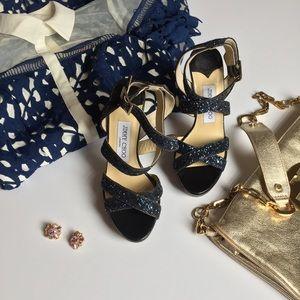 """Jimmy Choo Shoes - BRAND NEW! Jimmy Choo """"Lottie"""" Navy Glitter heels"""