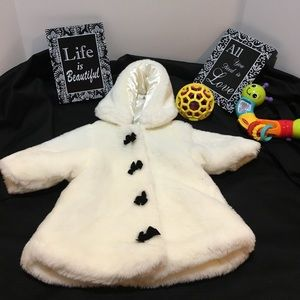 Children's Place Other - Very Soft Faux Fur Hooded Coat with Ribbons