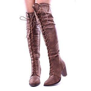 Boutique Shoes - Chunky Heel Lace Up Over The Knee High Boots
