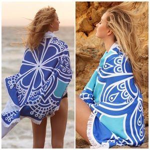 Lulupie Other - Blue Mandala Microfiber Beach Throw Cover Up