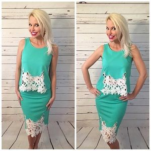 Dresses & Skirts - Mint/White 2 piece crochet detail outfit!