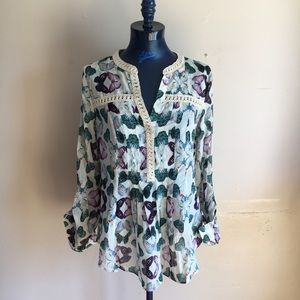 Anthropologie Butterfly Print Blouse