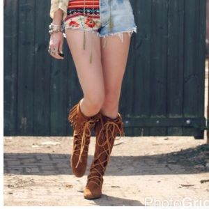 Fringe Lace Layered Moccasin Boots