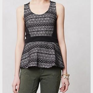 Anthropologie Deletta Sculpted Lace Peplum Tank
