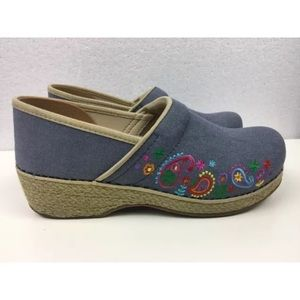 Dansko Shoes - Denim Dansko's with espadrille style