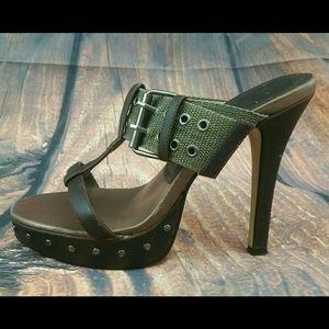 Michael Antonio heels 7 buckle brown opentoe