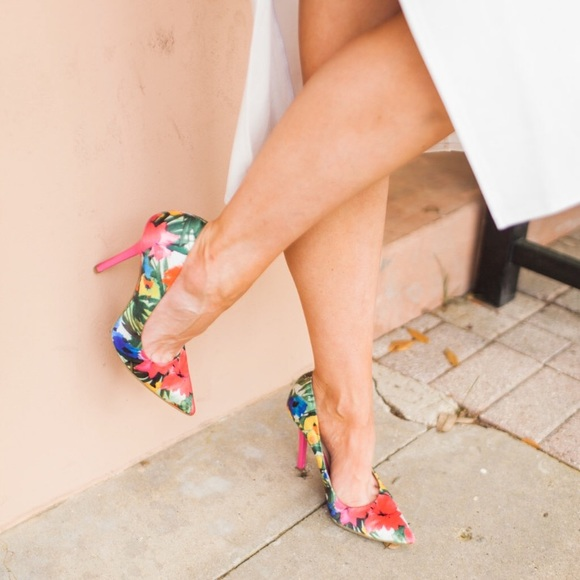 Guess Shoes - Guess floral satin high heels- sold out!