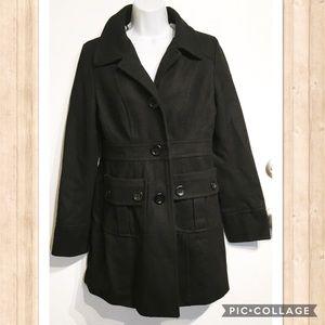 Modcloth Tulle Classic Black Pea Coat