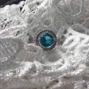 2Chillies Jewelry - Aqua marine stamped Sterling Silver ring size 789