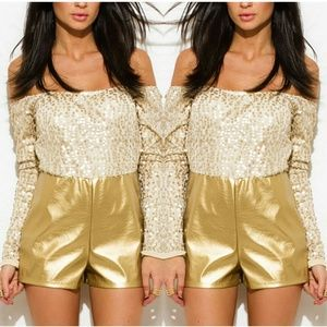 Pants - Gold sequined romper