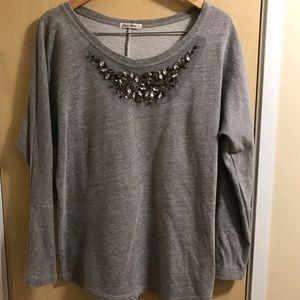 Allen Allen Tops - Grey rhinestone sweatshirt