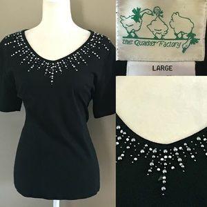 Quacker Factory Tops - QUACKER FACTORY vintage Black t shirt