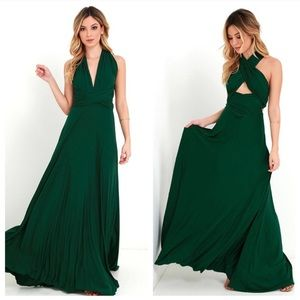 LuLus Forest Green Convertible Maxi Dress
