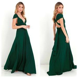 Lulu's Dresses - LuLus Forest Green Convertible Maxi Dress