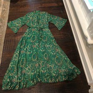 Pinky Girl Dresses & Skirts - Pinky Girl Green V Neck Floral Loose Chiffon Dress