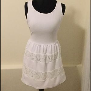 City Studio Dresses & Skirts - Sleeveless White Dress with Flower Lace Detail