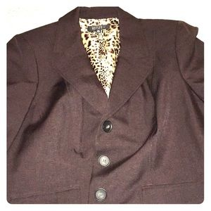 Gorgeous chocolate blazer with animal print lining