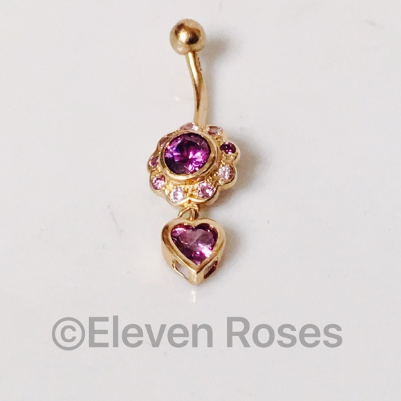 Purple And Gold Belly Button Rings