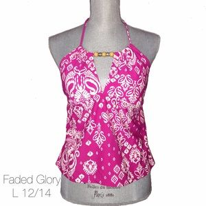 Faded Glory Other - Faded Glory Pink Halter Beaded Swim Top L 12/14