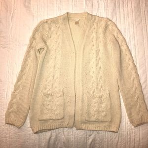 Forever 21 Ivory Cable Knit Cardigan S
