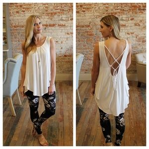 Ivory lace up back tunic