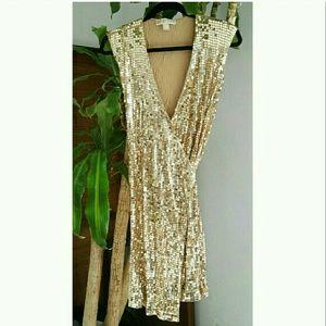 Michael Kors gold sequin wrap dress