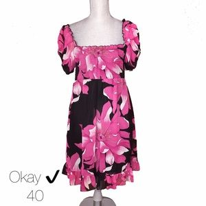 Okay Dresses & Skirts - Okay ✔️ Black Pink Floral Chiffon Dress 40