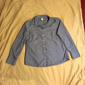 Faded Glory Tops - Faded Glory Polka Dot Chambray Button Down Size L