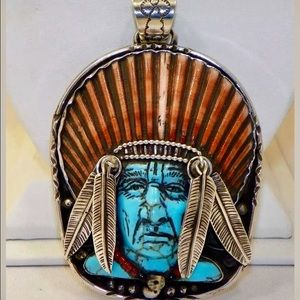 Francisco Gomez Sterling Indian Chief Pendant