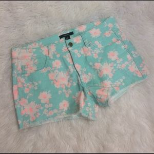 Forever 21 Pants - F21 Mint Coral Floral Denim Cutoff Shorts