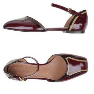 Marni Shoes - MARNI Patent-Leather Maroon Mary Jane Flats