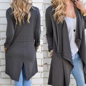 Sweaters - Gray cotton cardigan