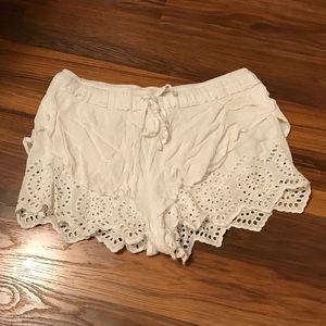 Indigo Rein Pants - White crochet shorts