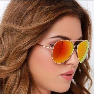 Orange mirror sunglasses
