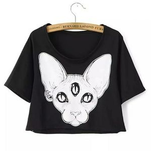 Black White Sphinx Cat Graphic Crop Tee Shirt M L