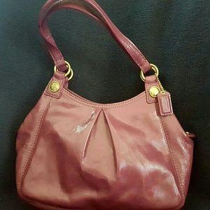 Coach Handbags - Coach Raspberry Mini Maggie Patent Leather Handbag