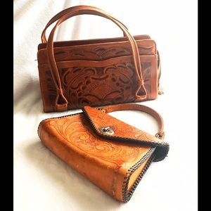 Avalon Handbags - VINTAGE ~ Hand Tooled Leather Purses ( as a set )
