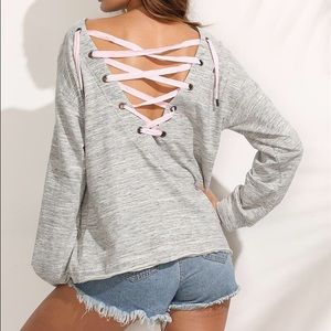 Sweaters - Lace up light sweater shirt