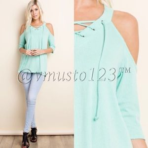 ValMarie Boutique Tops - MINT COLD SHOULDER RIBBED TOP