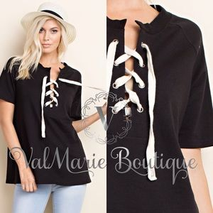 BLACK LACE UP TIE FRONT TOP