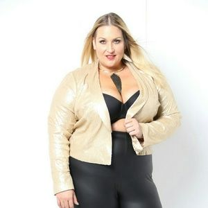 Jackets & Blazers - Gold Sequin Blazer lightweight