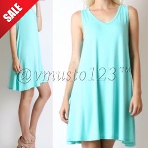 TURQUOISE SLEEVELESS MINI SWING DRESS