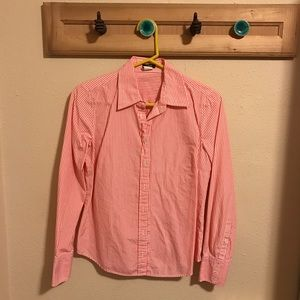 J. Crew Pink and White Striped Button Down