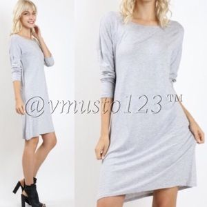 ‼️LAST ONE- GREY LONG-SLEEVE CASUAL DRESS