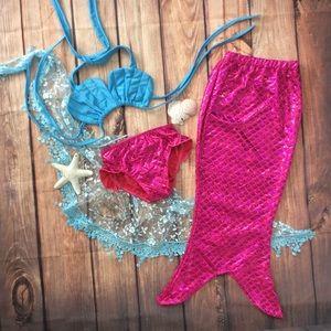 Other - Toddler & Big Girl 3pc Mermaid Bikini & Tail Fin