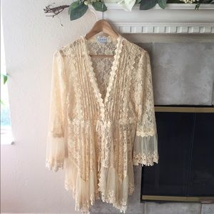 Adore Sweaters - Adore Creamy Lace Cardigan