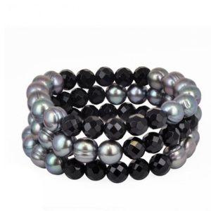 Honora Jewelry - Honora set of 3 stretch Pearl and Onyx Bracelets