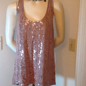 Halogen Tops - TAN SEQUINS TANK TOP